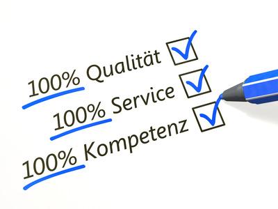 100% Qualität 100% Service 100% Leistung blau